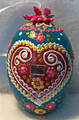 "*Large Wooden Hanging Easter Eggs (3.5 in), Hand-Painted in and Imported from Croatia: NEW for 2021 with ""SRETAN USKRS!"" (Teal3) ONE AVAILABLE!"