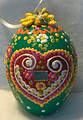 """*Large Wooden Hanging Easter Eggs (3.5 in), Hand-Painted in and Imported from Croatia: NEW for 2021 with """"SRETAN USKRS!"""" (Green3)"""