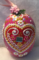 """*Large Wooden Hanging Easter Eggs (3.5 in), Hand-Painted in and Imported from Croatia: NEW for 2021 with """"SRETAN USKRS!"""" (Rose)"""