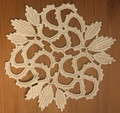 ANTIQUE Ecru-Color Doily with 3 Sunburst Patterns and Floral Designs: NEW!