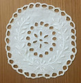 ANTIQUE White Doily with TOLEDO-STYLE Cut-Work and Slavonijan-Style Wheat Embroidery! NEW!