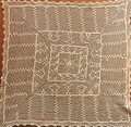 Antique Ecru-Color Handmade Large Square Center Piece, Incredible Crochet-Work!