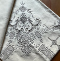 2021 ANTIQUE Hand Embroidered Tablecloth with 6 Matching Napkins! STUNNING WORK! NEW!  SOLD OUT!