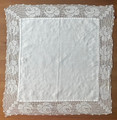 ANTIQUE White Square Decorative Piece, with Delicate Crochet-Work around the Edges! Set of 2!