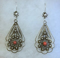 FILIGREE Earrings with CORAL Centers, Imported from Croatia, GORGEOUS! NEW!