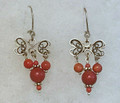 FILIGREE Earrings with Dangling Corals, Imported from Croatia, FANCIFUL & FUN! NEW!