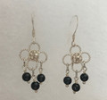 FILIGREE Earrings with Delicate Botuni Center and Obsidian Stones, Imported from Croatia, GORGEOUS! NEW!