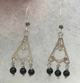FILIGREE Earrings with Delicate Filigree Work and Obsidian Stones, Imported from Croatia, AMAZING! NEW!