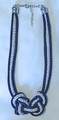 Navy Blue and White PLETER Necklace, Handmade and Imported from Croatia! (2 Vert)