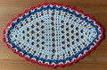 2021 Handmade Crocheted Lace from Croatia by Durda Janes, ONE-OF-A-KIND: Discounted! (OBLONG with with CROATIAN 'TROBOJNICA'---Red, White, Blue!) #7 NEW!
