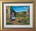"*CROATIAN VILLAGE LIFE: ""Grandmother and Granddaughter in the Village"" Reverse Glass Painting by Miroslav Pintar, ORIGINAL ART: NEW! 2019  SOLD!"
