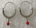 KONAVLE Earrings with Coral Seed Bead, ONE-OF-A-KIND: Imported from Croatia (Medium) STEEPLY DISCOUNTED PRICE! SOLD OUT!