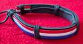 TROBOJNICA (Croatian Red-White-Blue) Leather Bracelet, Imported from Croatia!