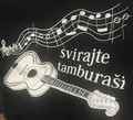 "T-Shirt: Women's Style, 3/4 Sleeves and V-Neck ~ ""Svirajte Tamburasi"" ~ Size: Sm ONLY! CLEARANCE!"