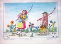 """Fisherwoman & Fisherman"" by Josip Generalić, 1985 SIGNED ORIGINAL (""Ribarica i Ribić""): STEEPLY Discounted Price!"