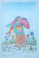 """Fisherman & Two Fish"" by Josip Generalić, 1987 SIGNED ORIGINAL (""Ribić s Dvije Ribe""): STEEPLY Discounted Price!"