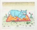 """Cat on a Sheet"" by Josip Generalić, 1977 SIGNED ORIGINAL (""Mačak na plahti""): STEEPLY Discounted Price! SOLD!"