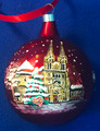 """Commemorative Ornament for 2020: """"Zagreb Cathedral of the Assumption of the Blessed Virgin Mary"""" Hand-Painted and Imported from Croatia with """"Sretan Božić!"""" and Pleter Design: NEW for 2020!  SOLD OUT!"""
