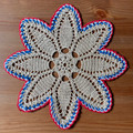 2021 Handmade Crocheted Lace from Croatia by Durda Janes, ONE-OF-A-KIND: Discounted! (FLORAL-STAR with CROATIAN 'TROBOJNICA'---Red, White, Blue!) #15  NEW!