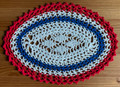 2021 Handmade Crocheted Lace from Croatia by Durda Janes, ONE-OF-A-KIND: Discounted! (OVAL with CROATIAN 'TROBOJNICA'---Red, White, Blue!) #8  NEW!