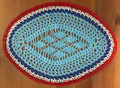 Handmade Crocheted Lace from Croatia by Durda Janes, ONE-OF-A-KIND: Discounted! (OVAL with CROATIAN 'TROBOJNICA'---Red, White, Blue!) #41