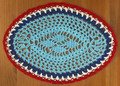 Handmade Crocheted Lace from Croatia by Durda Janes, ONE-OF-A-KIND: Discounted! (OVAL with CROATIAN 'TROBOJNICA'---Red, White, Blue!) #43