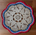 2021 Handmade Crocheted Lace from Croatia by Durda Janes, ONE-OF-A-KIND: Discounted! (CIRCULAR with CROATIAN 'TROBOJNICA'---Red, White, Blue!) #11 NEW!