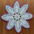 2021 Handmade Crocheted Lace from Croatia by Durda Janes, ONE-OF-A-KIND: Discounted! (FLORAL-STAR with CROATIAN 'TROBOJNICA'---Red, White, Blue!) #5 NEW!