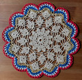 2021 Handmade Crocheted Lace from Croatia by Durda Janes, ONE-OF-A-KIND: Discounted! (CIRCULAR with CROATIAN 'TROBOJNICA'---Red, White, Blue!) #12 NEW!
