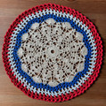 2021 Handmade Crocheted Lace from Croatia by Durda Janes, ONE-OF-A-KIND: Discounted! (CIRCULAR with CROATIAN 'TROBOJNICA'---Red, White, Blue!) #14  NEW!