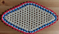 2021 Handmade Crocheted Lace from Croatia by Durda Janes, ONE-OF-A-KIND: Discounted! (OBLONG with CROATIAN 'TROBOJNICA'---Red, White, Blue!) #1  NEW!