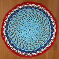 Handmade Crocheted Lace from Croatia by Durda Janes, ONE-OF-A-KIND: Discounted! (CIRCULAR with CROATIAN 'TROBOJNICA'---Red, White, Blue!) #23  ON SALE!
