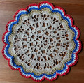 2021 Handmade Crocheted Lace from Croatia by Durda Janes, ONE-OF-A-KIND: Discounted! (CIRCULAR with CROATIAN 'TROBOJNICA'---Red, White, Blue!) #10  NEW!