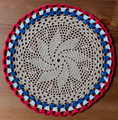 2021 Handmade Crocheted Lace from Croatia by Durda Janes, ONE-OF-A-KIND: Discounted! (CIRCULAR with CROATIAN 'TROBOJNICA'---Red, White, Blue!) #13  NEW!