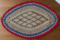 2021 Handmade Crocheted Lace from Croatia by Durda Janes, ONE-OF-A-KIND: Discounted! (OBLONG with CROATIAN 'TROBOJNICA'---Red, White, Blue!) #2 NEW!