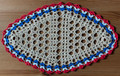2021 Handmade Crocheted Lace from Croatia by Durda Janes, ONE-OF-A-KIND: Discounted! (OBLONG with with CROATIAN 'TROBOJNICA'---Red, White, Blue!) #4  NEW!