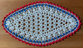 2021 Handmade Crocheted Lace from Croatia by Durda Janes, ONE-OF-A-KIND: Discounted! (OBLONG with with CROATIAN 'TROBOJNICA'---Red, White, Blue!) #6 NEW!