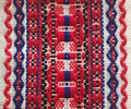 *(1A) Table Runner,  TROBOJNICA, Croatian Red-White-Blue Folk Pattern: Imported from Croatia! 14 in x 55 in (35 cm x 140 cm) DISCOUNTED PRICE! NEW!