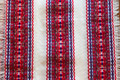 *(1A) Tabletopper, TROBOJNICA, Croatian Red-White-Blue Folk Pattern: Imported from Croatia!  27.5 in x 27.5 in (70 cm x 70 cm) DISCOUNTED PRICE! NEW!