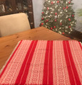 *(1C) Tabletopper, LINEN, Christmas RED with Croatian Folk Motif: Imported from Croatia! NEW! 27.5 in x 27.5 in (70 cm x 70 cm) DISCOUNTED PRICE! NEW!