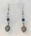 Earrings with Lapis Lazuli Beads and Botuni, Imported from Croatia: NEW! (Small/Dainty): STEEPLY DISCOUNTED PRICE!
