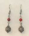 Earrings with Coral Seed Beads and Botuni, Imported from Croatia: (Small/Dainty) STEEPLY DISCOUNTED PRICE!