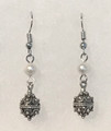 Earrings with River Pearls and Botuni, Imported from Croatia:(Small/Dainty) STEEPLY DISCOUNTED PRICE!