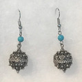 Earrings with Turquoise Beads and Botuni, Imported from Croatia: NEW! (Medium): STEEPLY DISCOUNTED PRICE!