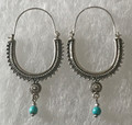 KONAVLE Earrings with Turquoise Bead, ONE-OF-A-KIND: Imported from Croatia (Large) STEEPLY DISCOUNTED PRICE!
