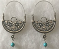 KONAVLE Earrings with Turquoise Bead, ONE-OF-A-KIND: Imported from Croatia (Large Elaborate) STEEPLY DISCOUNTED PRICE! SOLD OUT!