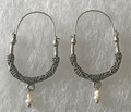 KONAVLE Earrings with Freshwater Pearls, ONE-OF-A-KIND: Imported from Croatia (Large Contemporary) STEEPLY DISCOUNTED PRICE!