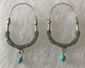 KONAVLE Earrings with Turquoise Bead, ONE-OF-A-KIND: Imported from Croatia (Large Contemporary) STEEPLY DISCOUNTED PRICE!