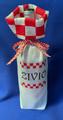 "Croatian Wine and Gift Bag with Šahovnica Cuff, Handmade: ""ŽIVIO""  NEW!"