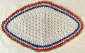 2021 Handmade Crocheted Lace from Croatia by Durda Janes, ONE-OF-A-KIND: Discounted! (OBLONG with CROATIAN 'TROBOJNICA'---Red, White, Blue!) N3: NEW 10/21